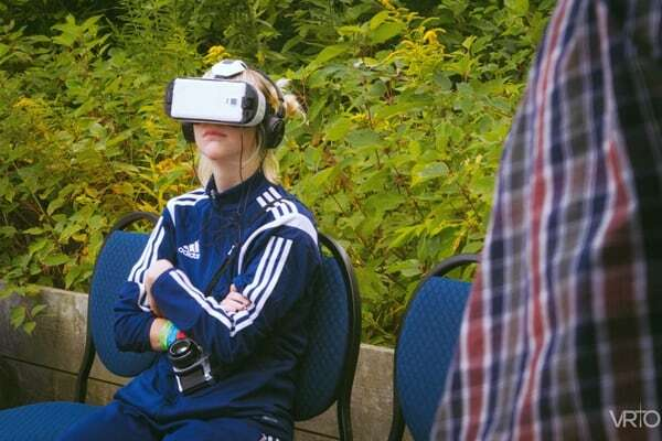 Girl tries VR at Camp Wavelength