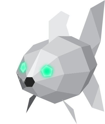 An illustration of a low poly fish with bubbles